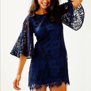 Lilly Pulitzer Navy Blue Lace Jackelin Rompers